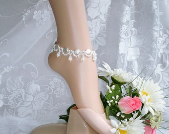 Ankle Bracelet for Women, Foot Jewelry, Anklet, Barefoot Bracelet, Wedding Foot Bracelet, White Bracelet, White Anklet