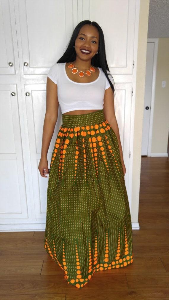 Ankara Maxi Skirt Greenish Skirt African Print Maxi Skirt
