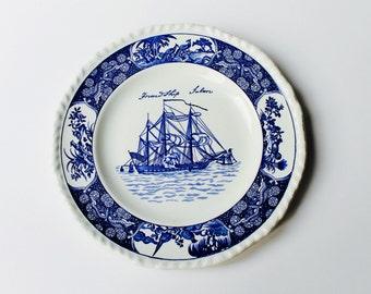 Vintage Wedgwood Friendship Salem decorative blue and white plate.
