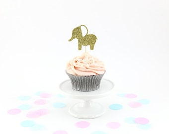Glitter Elephant Cupcake Toppers (Set of 12) - Baby Shower Cupcake Toppers, Birthday Party, Baby Shower Decor, Elephant Party, Cupcakes