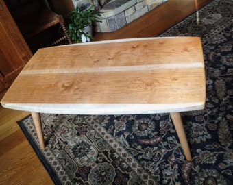 Midcentury Modern Coffee table - Cherry and Curly Maple Wood. 24 x 42, 17-1/2 Tall. Satin Finish.