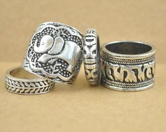 Elephant vintage boho silver rings