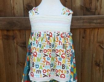 Back to School dress - Apron dress - School Days Dress - Alphabet Dress - Preschool Dress