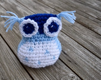 Whimsically Wild, Blue, Amigurumi Owl