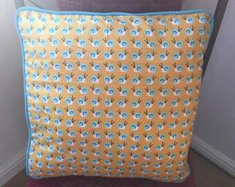 mustard snail print cushion cover