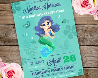 Girl party invitation instantly downloadable and editable mermaid birthday invitation under the sea invitation mermaid invitation mermaid under the sea solutioingenieria Images