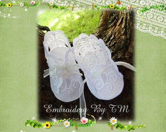 Baby booties white lace-4x4 hoop-FSL-0-3 months-1+1 baby booties free,your choice!