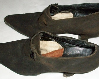 Brown Suede Teens or Edwardian Button Shoes