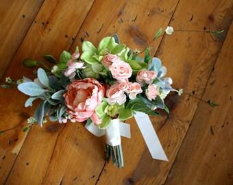 Peach Bridal Bouquet, Bridal Bouquet, Wedding Flowers, Wedding Bouquet, Peach Wedding, Peach Wedding Flowers, Blush Wedding Flower, Keepsake
