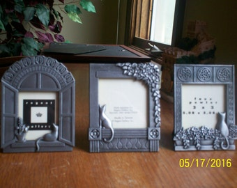 """Three CAT PHOTO FRAMES - Faux Pewter - 2"""" x  2"""""""