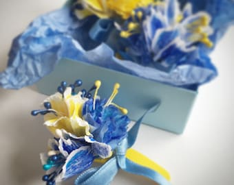3 Paper flower barrettes, Paper flower hair decoration, Blue and yellow paper flower hair accessories