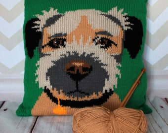 Knitting Pattern PDF Download - Border Terrier Pet Portrait Pillow Cushion Cover