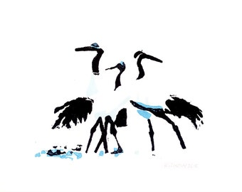 Japanese crane cards - pack of 5 greetings cards