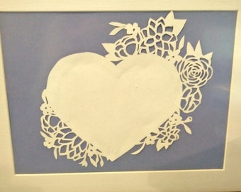 Papercut loveheart floral