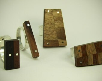 Series wood Rings Silver 925, silver, wood, jewelry, jewelry, ring, handmade