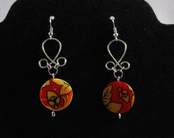 Twisted wire and red floral earrings