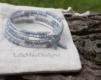 Ladies Bracelet - Beaded Memory Wire Wrap Bracelet - 4mm beads - Five Times Wrap - Memory Wire Bangle - Handmade Bracelet,