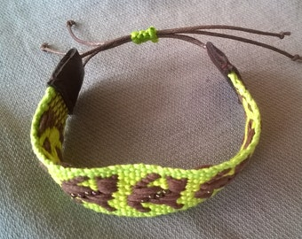 Woven patterned cotton bracelet with glass beads