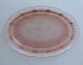 Jeannette Pink Cherry Blossom Depression Glass, 1930s Oval Serving Dish