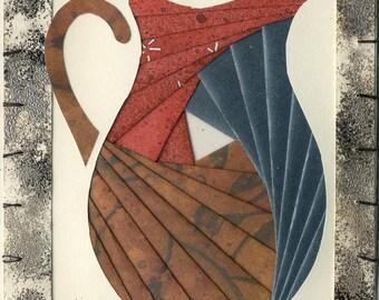 Handmade Thinking of You Greeting Card - Iris folded Pitcher v.13