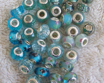 38 Silver-core Light Blue Big Hole Beads in Assorted Designs