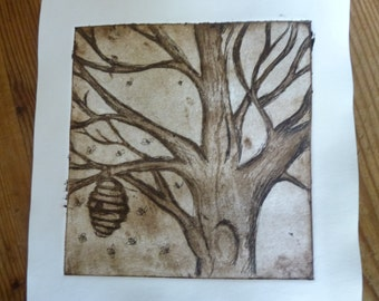tree and bees small aquatint etching