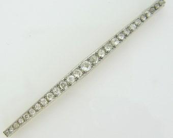 Edwardian diamonds barrette brooch, 18kt gold and platinum, c. 1920  Edwardian diamonds barrette brooch, 18kt gold and platinum, c. 1920