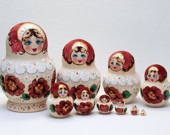 Russian Matryoshka Babushka Nesting Dolls set 10 in 1 Pyrography Handmade Wood Burning
