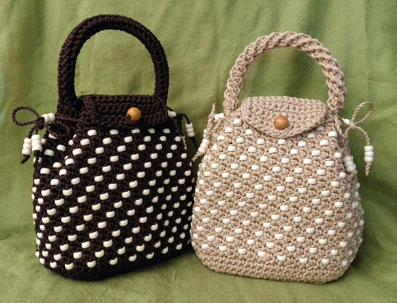 crochet handbag knit bag nylon yarn handbag crochet pouch