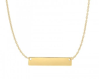 14K Yellow Gold Dangling Bar Necklace