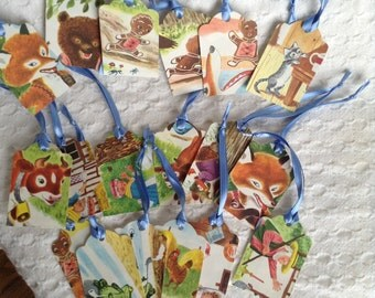 The Gingerbread Man Gift Tag Set of 18: Handmade Gift Tags/ Party Favor Tags from vintage illustrations from children's book