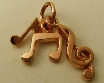 Genuine SOLID 9K 9ct ROSE GOLD Musical Notes charm/pendant