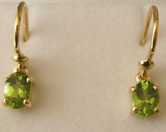 Genuine SOLID 9K 9ct YELLOW GOLD August Birthstone Peridot Earrings