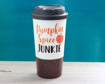 Pumpkin Spice Junkie Travel Mug, Pumpkin Spice Mug, Glitter Mug, Pumpkin Glitter Coffee Mug, Fall Mug, Glitter Fall Mug,