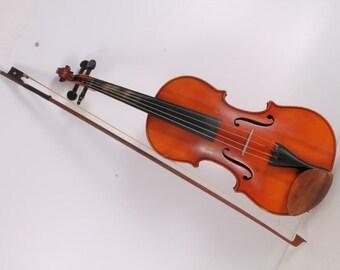 Vintage Old German Made Wooden Violin With Hard Case.