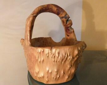 Handmade wood basket, Vintage wooden handcarved, Rustic wood basket,Fruit Basket,  Flower Basket