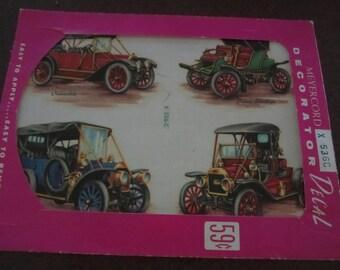 Antique car decals,decals of old cars, 1960s decor,garage decor,antique automobile pictures,Model T, Studebaker,Oldsmobile,Pierce Stanhope