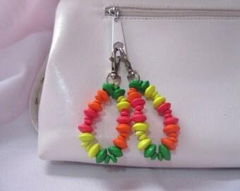 Pink, green, yellow and orange key chain