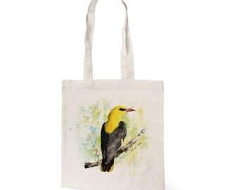 Cotton tote eco bag with original color print of bird Golden oriole, Everyday Bag, Eco Bag