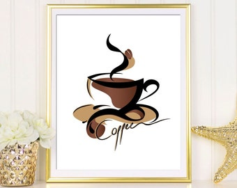 Coffee print Coffee art print Coffee printable Coffee wall art Coffee sign Coffee poster Kitchen art print Coffee artwork Coffee quote print