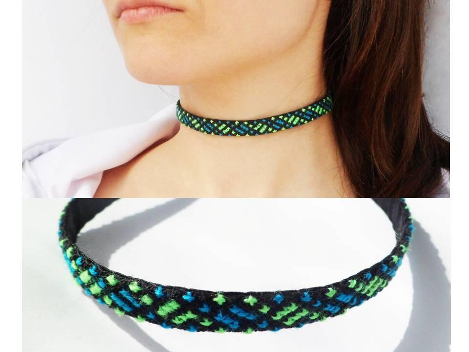 black choker green necklace thin green by sebikastudio