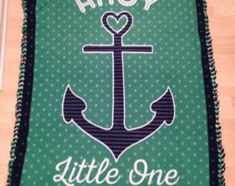 No Sew Anti Pill Fleece Blanket...Braided Edge..Ahoy Little One..Baby Boy Blanket..Nautical