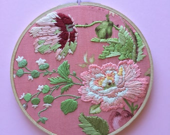 Pink Flower Floral Hand Embroidery on Wooden Hoop Homewares