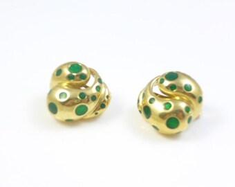 Green Earrings, Clip On Earrings, Gold Clip On Earrings, Enamel Earrings, Abstract Earrings, Vintage