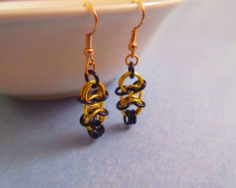 X-Lock Yellow and Black Chainmaille Earrings