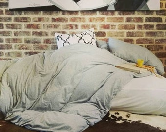 Soft Grey Bedding Set, Duvet cover and pillowcases. 100% Cotton Jersey Bed Linen.