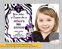 PRINTED or Digital Purple Minnie Mouse Birthday Invitations,  Minnie Zebra Print Party Supplies, Disney Minnie Mouse Printable Invitations