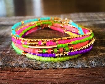 Neon Bracelet Stack/Gold, Purple, Melon, Pink, Green, Turquoise/Boho