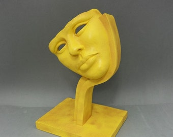 BEAUTY CURVE - original sculpture, decor object, gift item, yellow granite stone finish