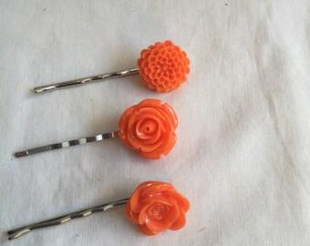 Orange Resin Flower Bobby-Pins